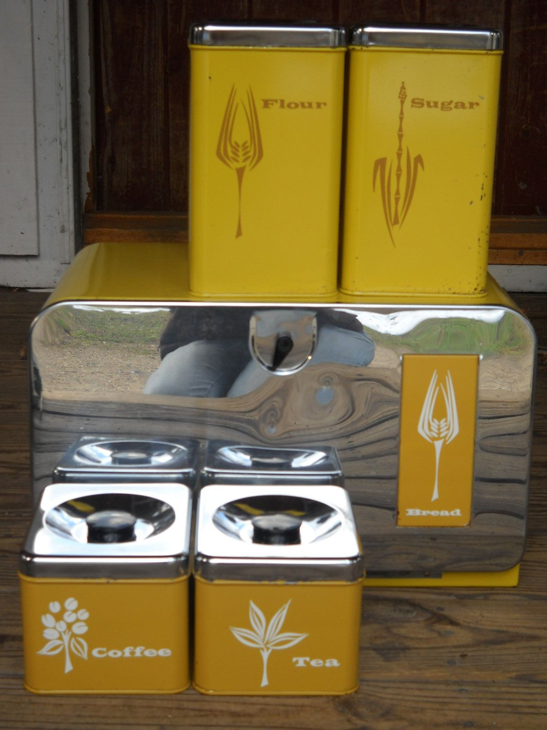 vintage pantry queen bread box canister set 5 pc 1950 s retro