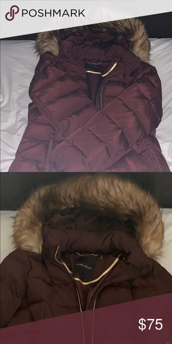 76251993d40c Women s Burgundy Faux Fur winter coat Women s Size M Ivanka Trump Jackets    Coats Trench Coats