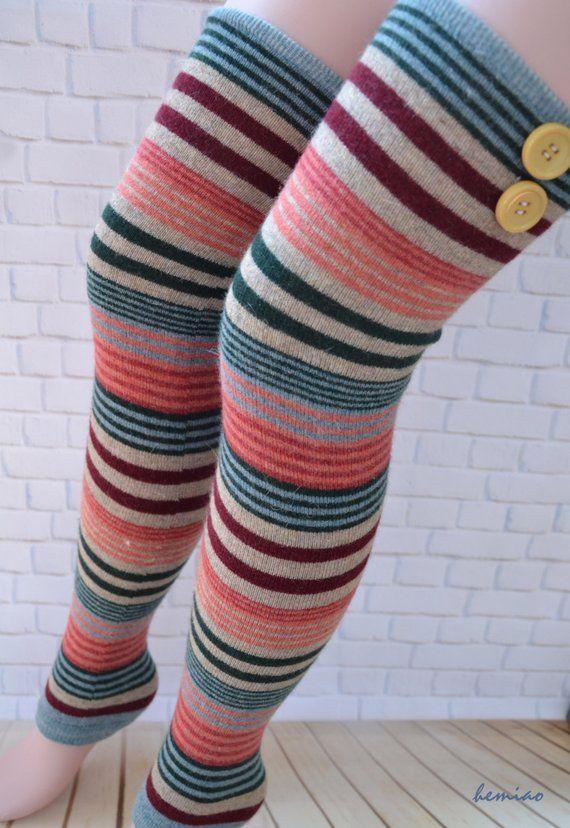 Girls Ladies Women Thigh High Leg Warmers Over the Knee Long Knitted Leg Warmer