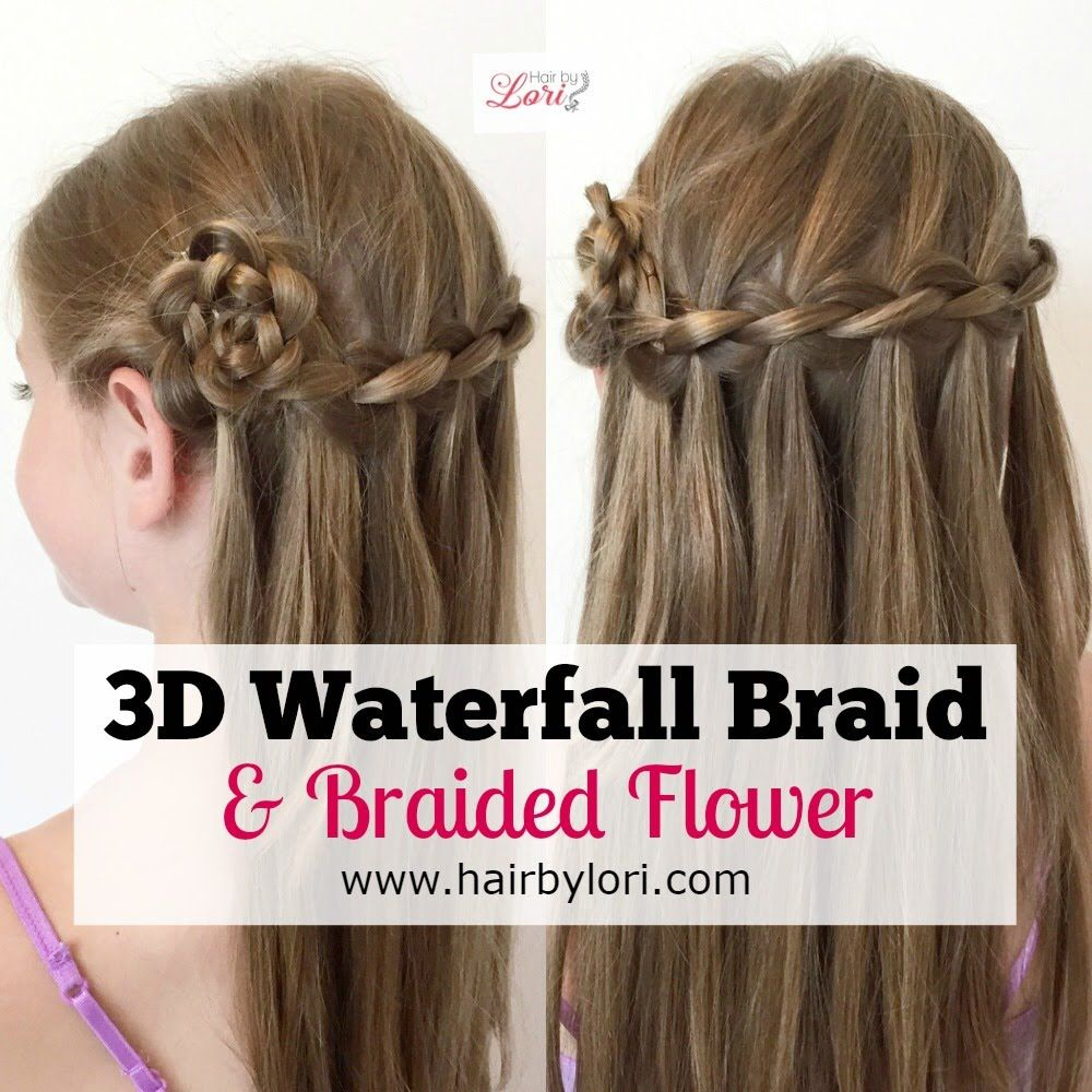 3d Waterfall Braid And Braided Flower Rosette Waterfall Braid Braids Waterfall Hairstyle