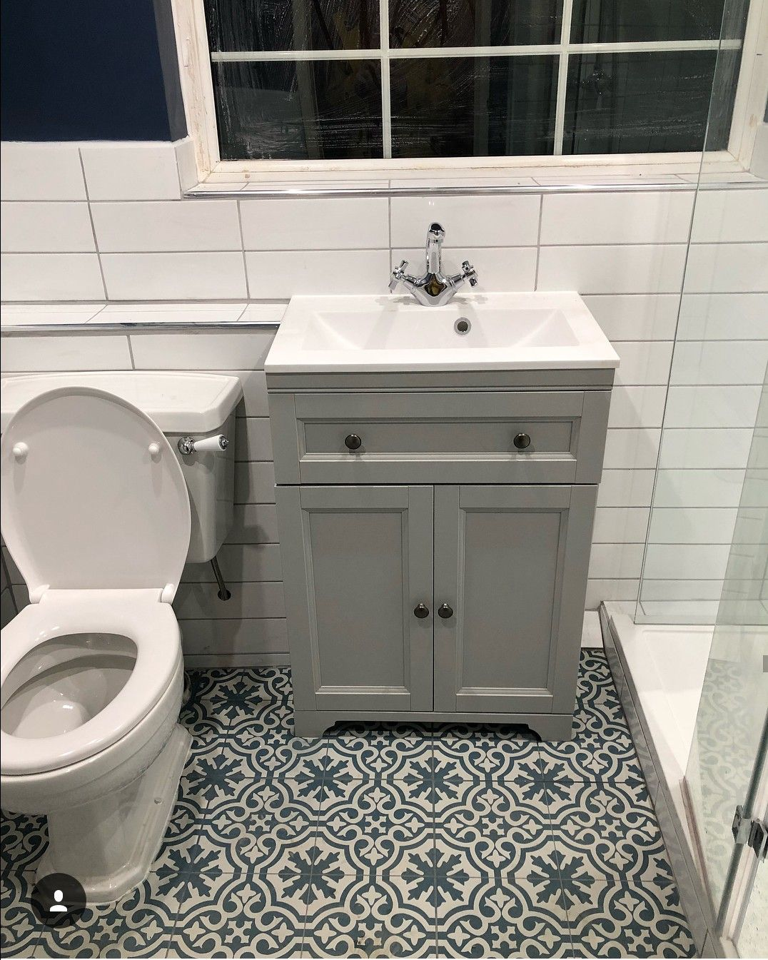 Linear White Wall Tile And Berkeley Blue Floor Tile Small Toilet Room Victorian Bathroom Blue Bathroom Tile
