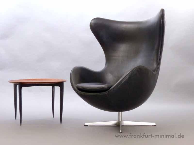 Gut Fritz Hansen Arne Jacobsen Egg Chair Leder Schwarz