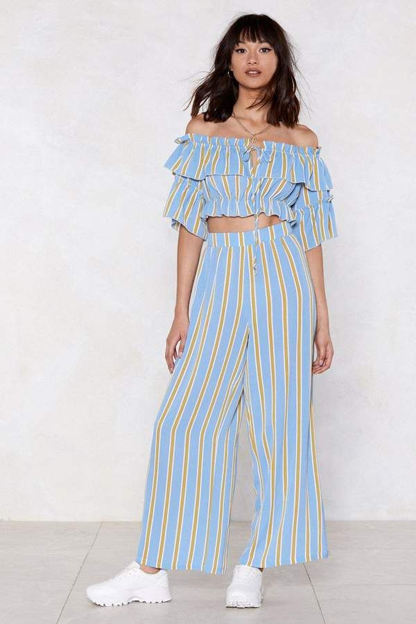 Nasty Gal Hit the Stripe Note Crop Top and Pants Set 89b74f01819