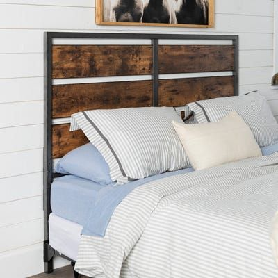 Rustic Metal & Wood Plank Panel Queen Headboard in 2019 ...