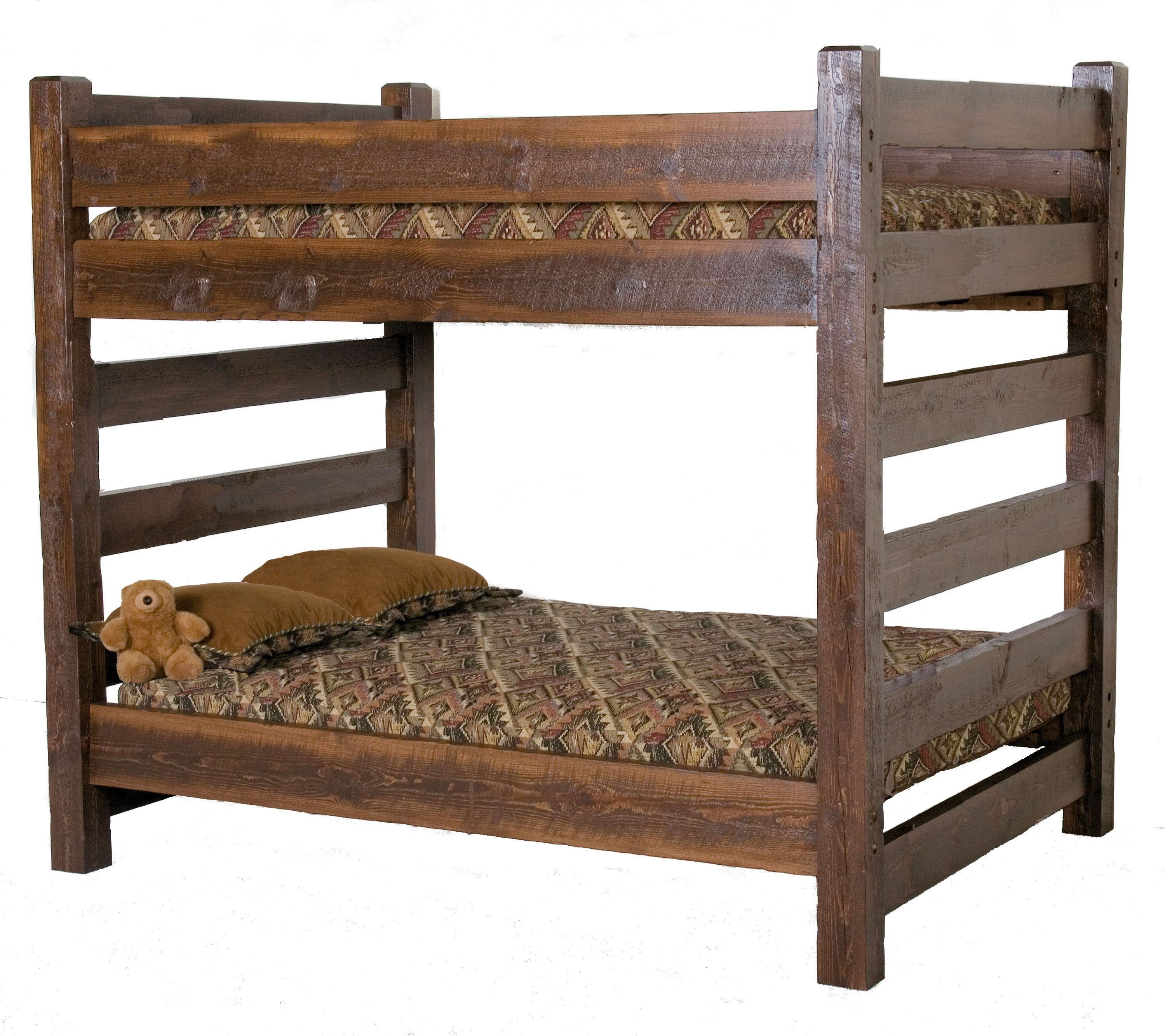 Barnwood Queen Over Bunk Bed