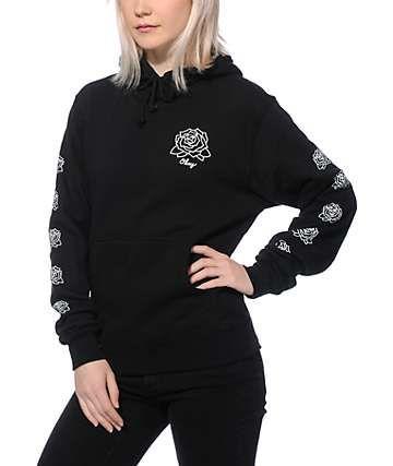 Black Hoodie  Mira Mosa Print Pullover Men Women Unisex