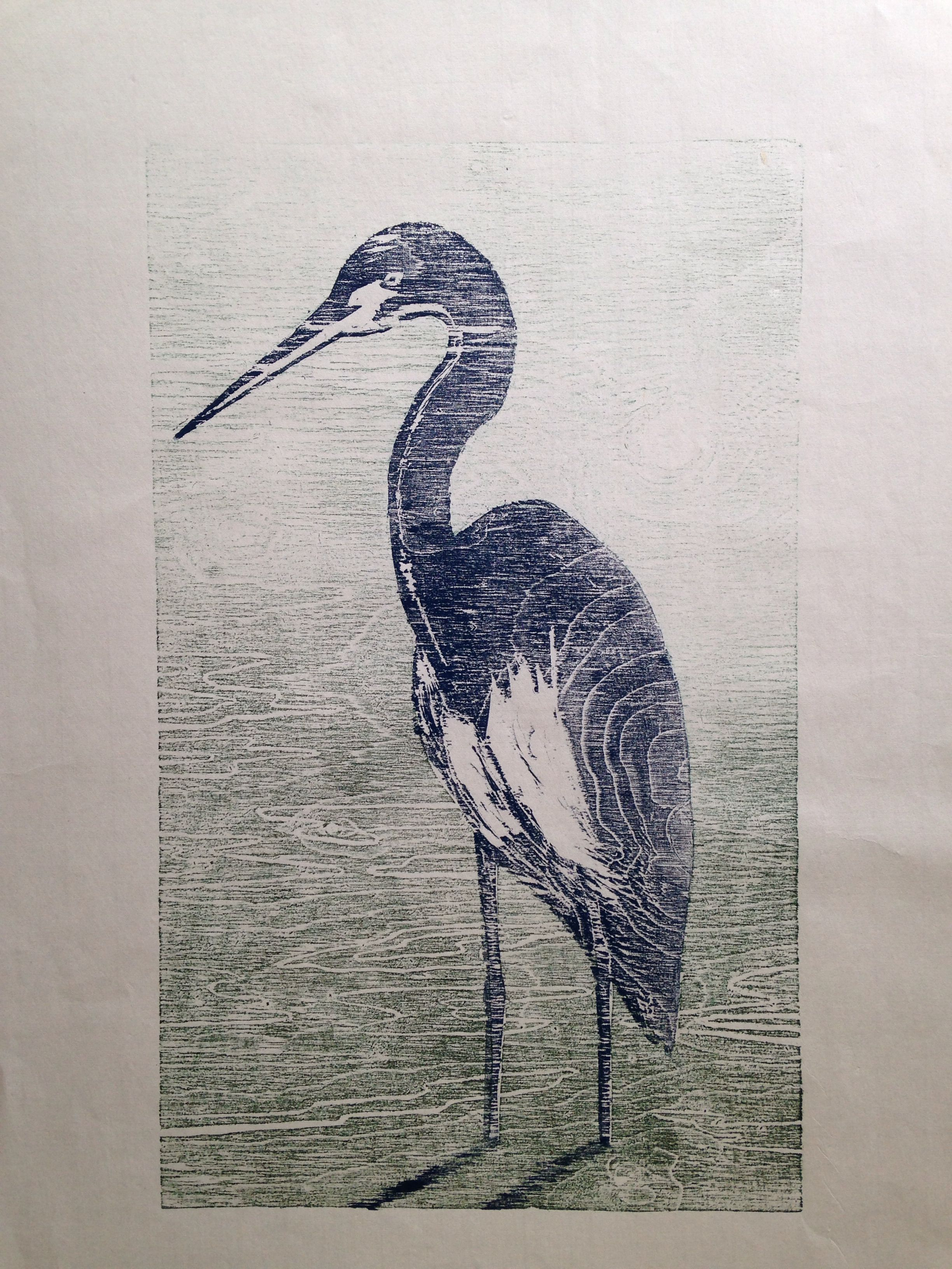 Heron watching woodcut print woodcuts prints woodcut