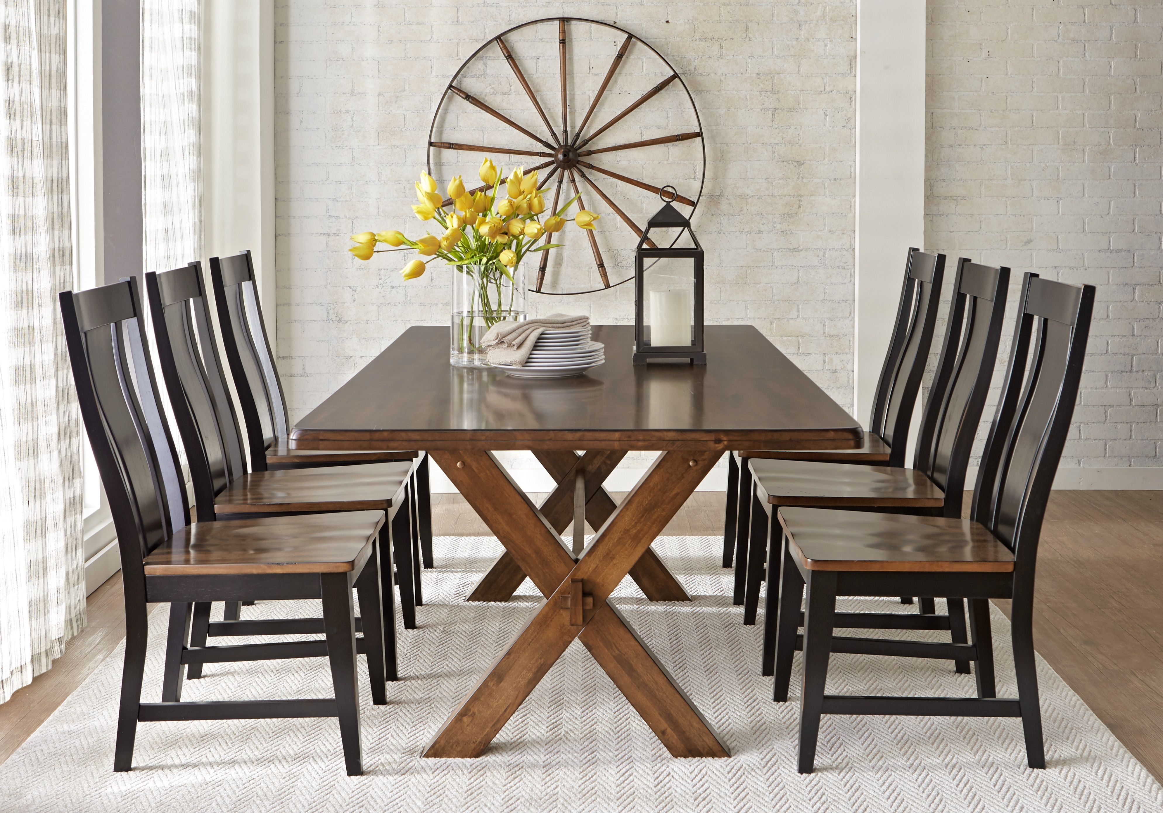 Twin Lakes Brown 5 Pc 72 In Rectangle Dining Room 799 0 5pc Set