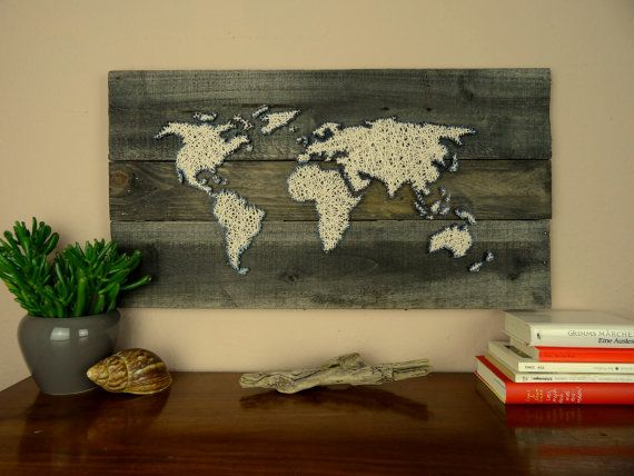world map string art gift for couple reclaimed wood wedding gift shabby chic decor. Black Bedroom Furniture Sets. Home Design Ideas