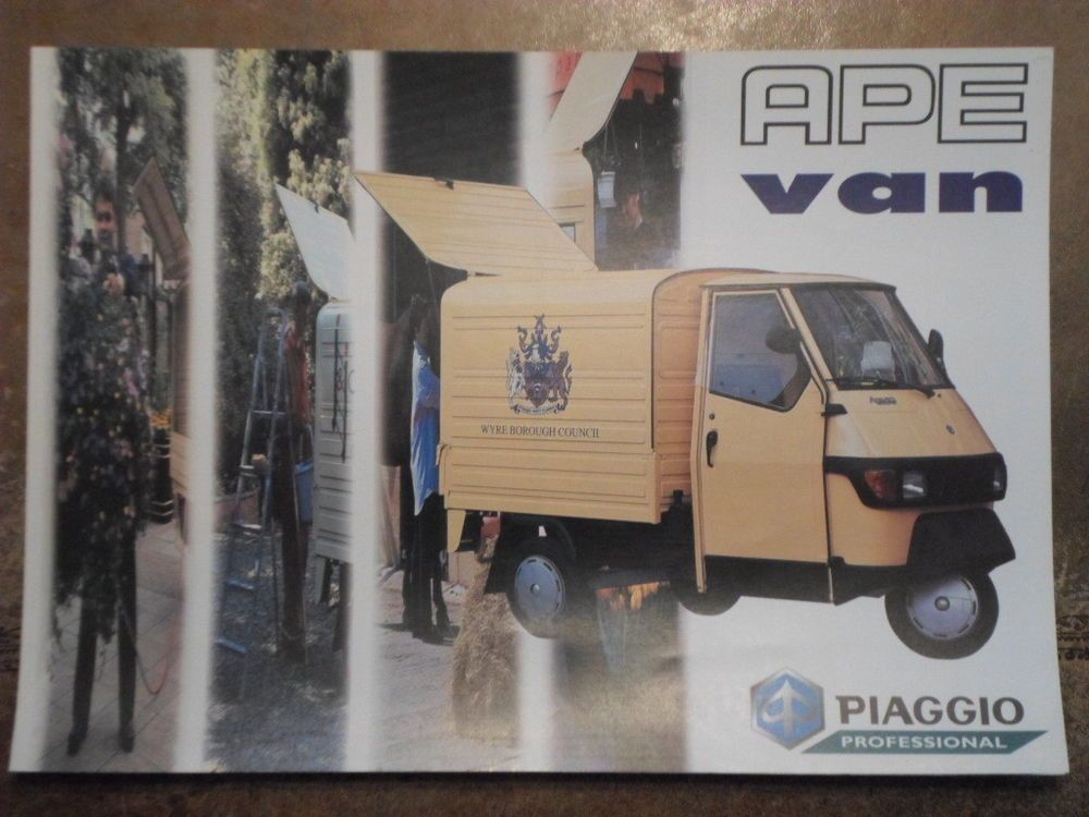 Details About Piaggio Ape Van Orig C1998 Uk Mkt Small Truck Sales Brochure Reliant Cars Ltd