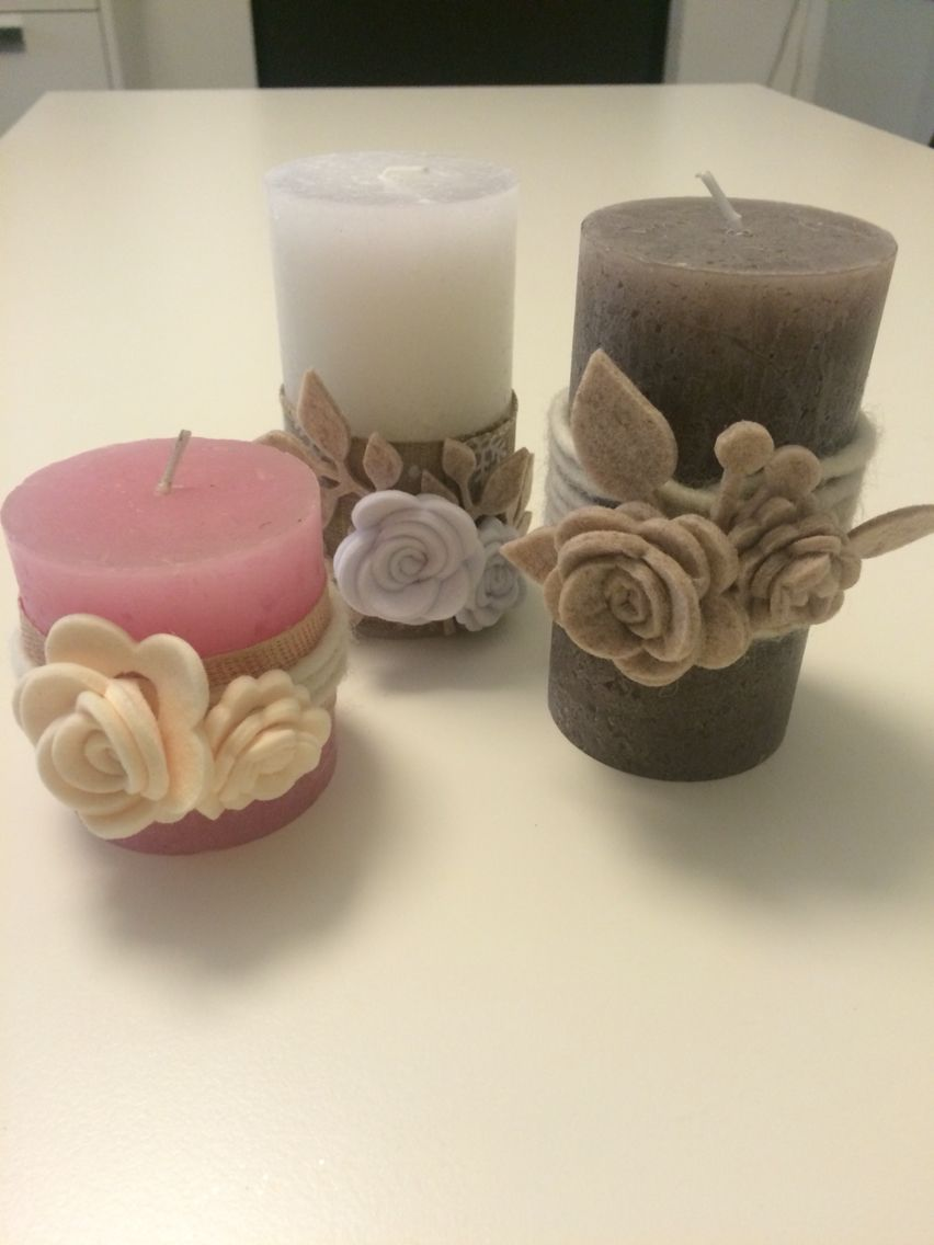 Candele con rose in feltro | Candele decorate, Candele di ...