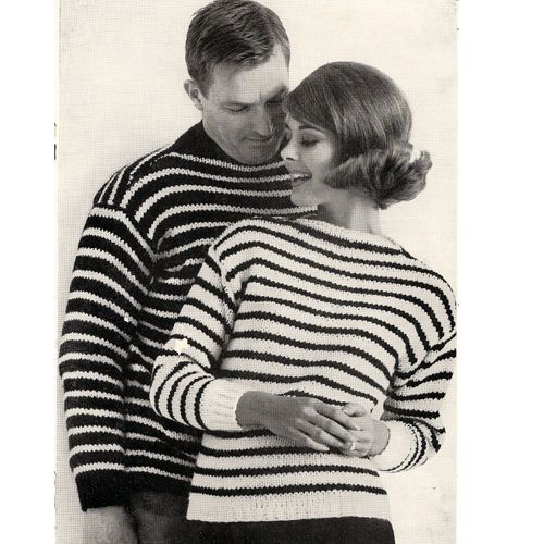 Striped Boat Neck Pullover Sweater Knitting Pattern Mens ...