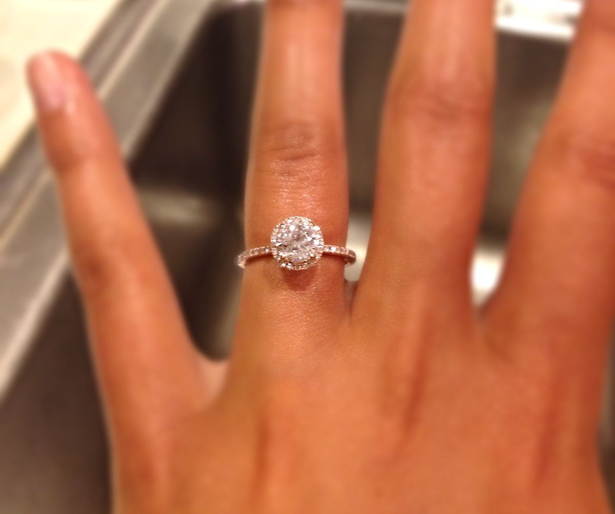 Round halo setting and thin band Wedding rings Pinterest