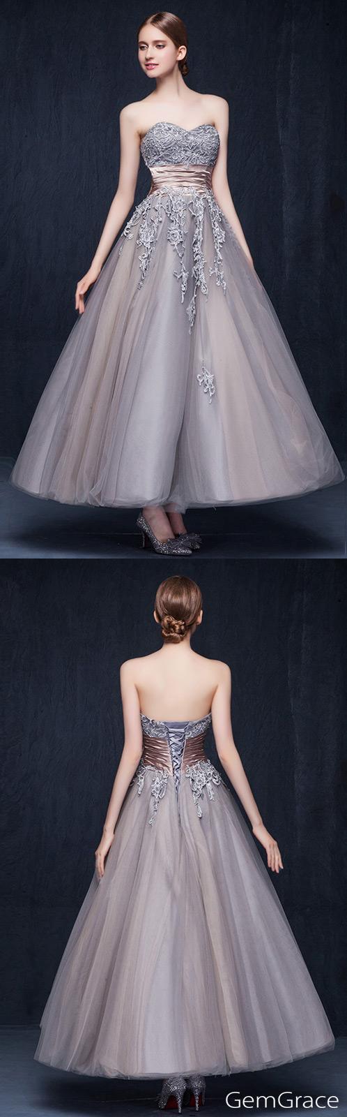 Vintage tulle ankle length wedding dresses retro wedding a line
