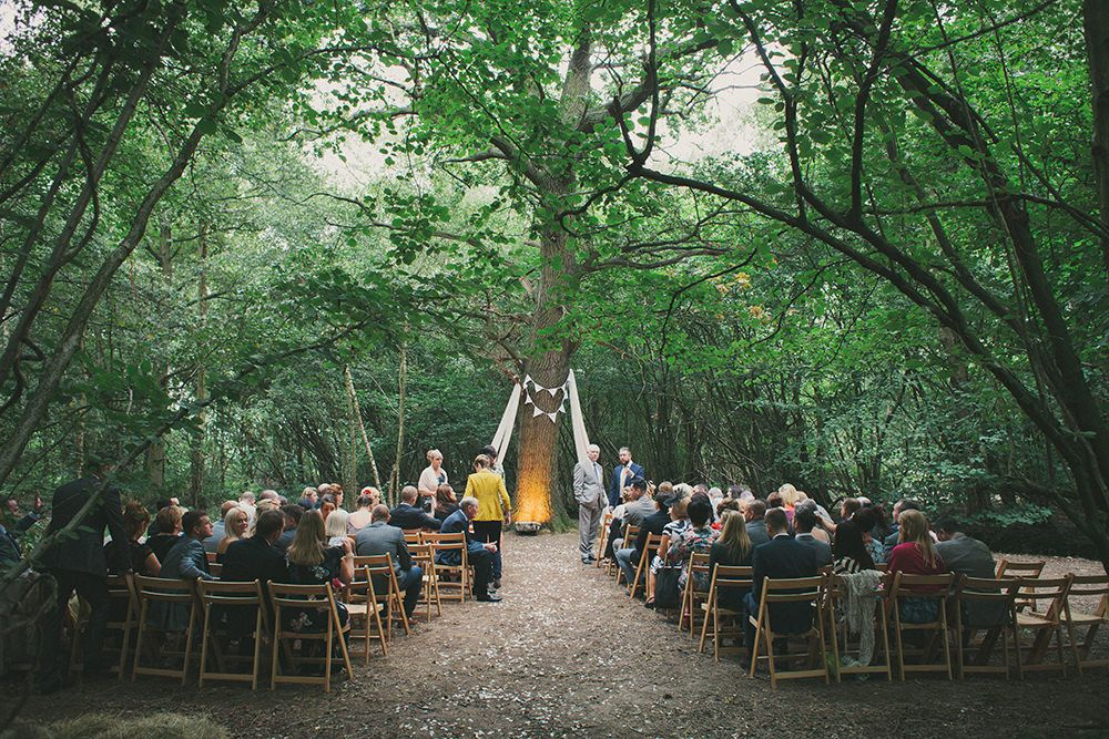 Bride In A Lace Ovias Gown With Flower Crown For An Outdoor Woodland Wedding At Wise Venue Kent Festival Theme