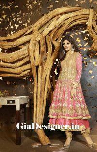 Shilpa Shetty Biege Pink Georgious Anarkli Bollywood Replica Suit