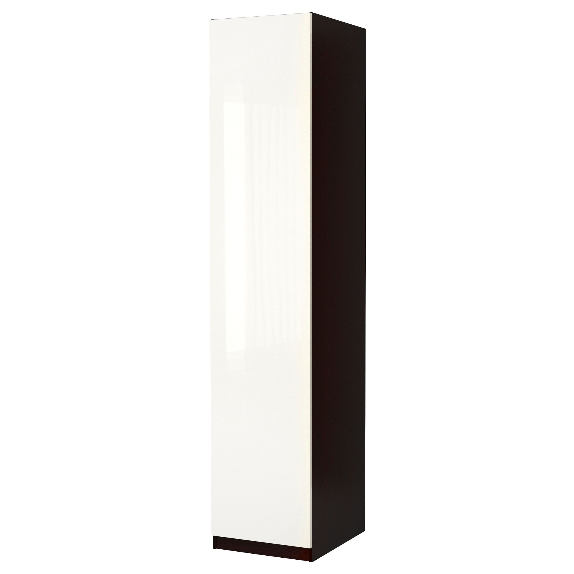 Pax wardrobe with door fardal high gloss white blackbrown