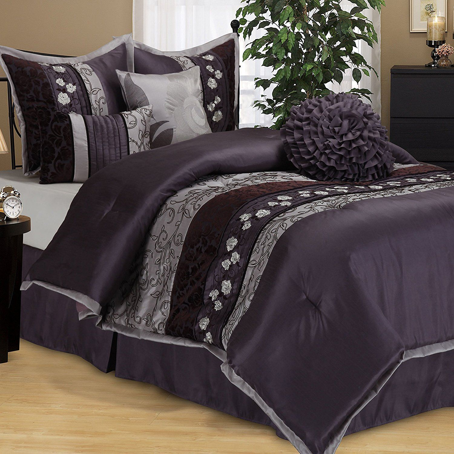 conjunction down ruched in with queen king size dark well and comforter beddings of solid xl satin grey purple plus twin full sets nursery together as alternative