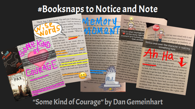 Using booksnaps to record your journey through a book, notice and note signposts, and to share your thinking with others.
