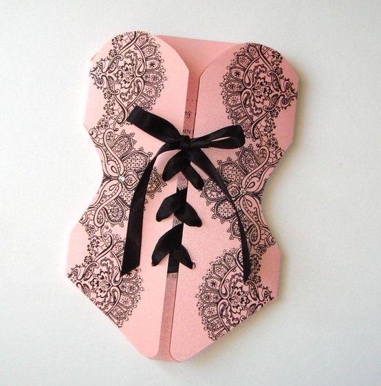 Corset Bridal Shower Invitation Bachelorette Party Lace
