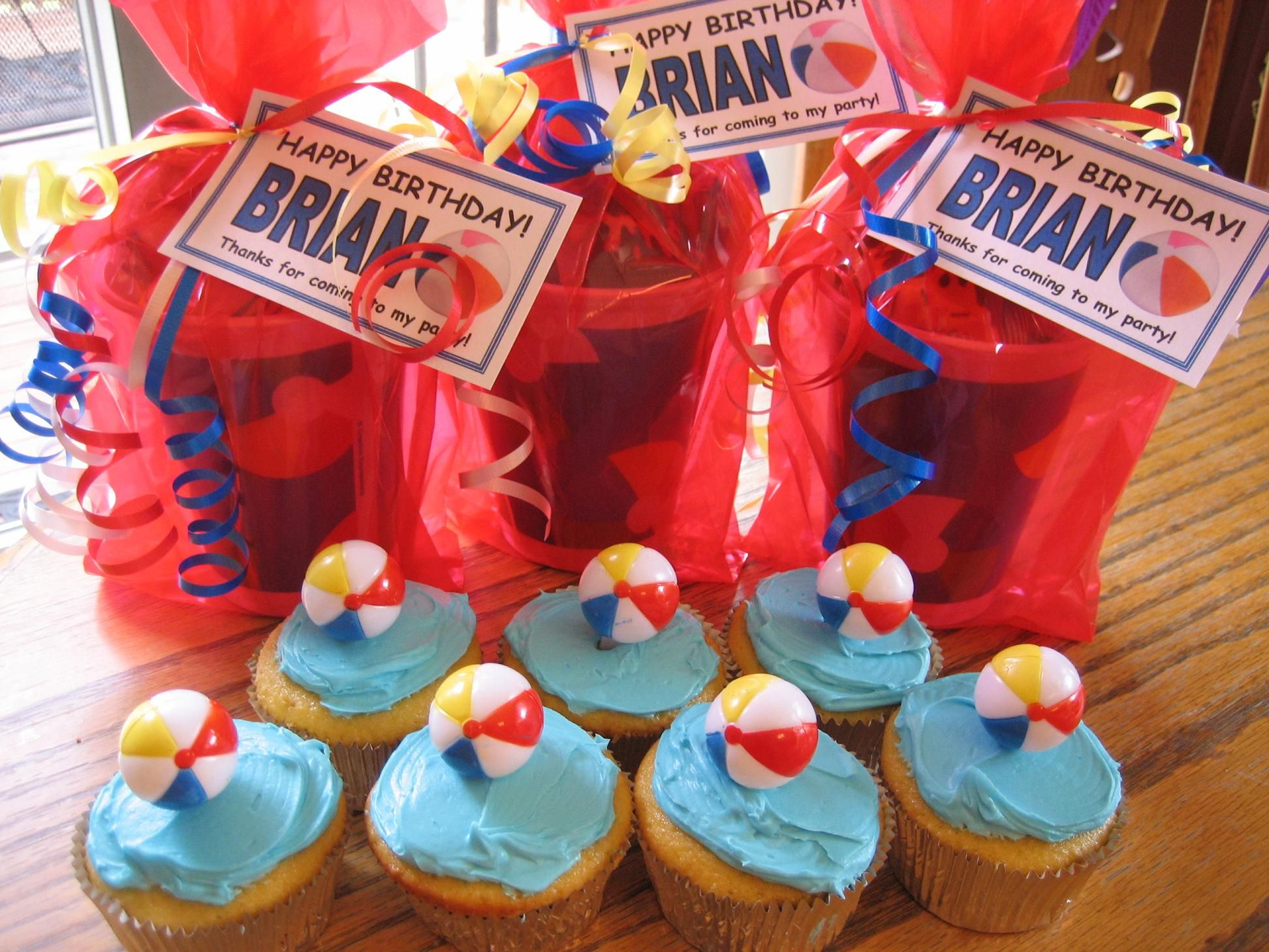 Pool Party Favors Beach Ball Cupcakes Kids Birthday Parties