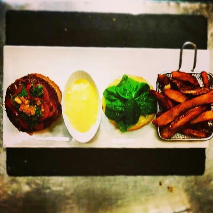 Hamburger Thaï, frites maison, hollandaise à la citronnelle