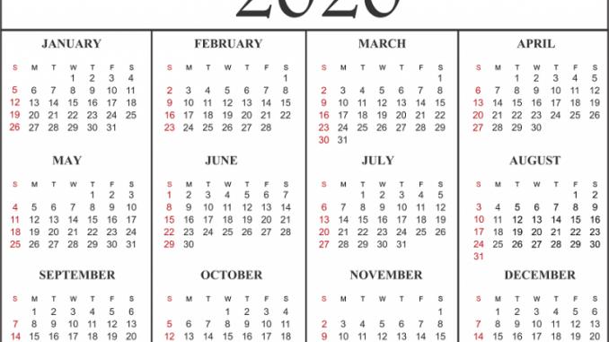 January To December 2020 Calendar Calendar Template Printable Calendar Template Monthly Calendar Template