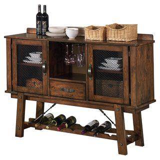 Lawson Rustic Oak Server With Built In Wine Rack