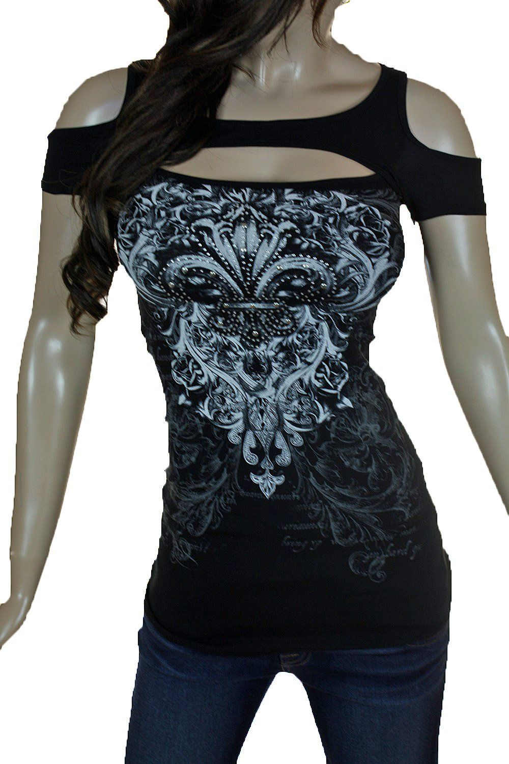 Bling Rhinestone Tattoo Cross Rose Wings Peekaboo Open Cold Shoulders New Top (Small, Black Cold Shoulder)