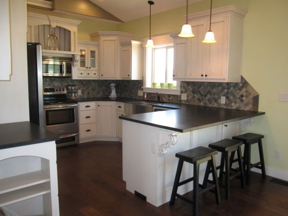 Thompson Kitchen, White Cabinets With Absolute Black Leather