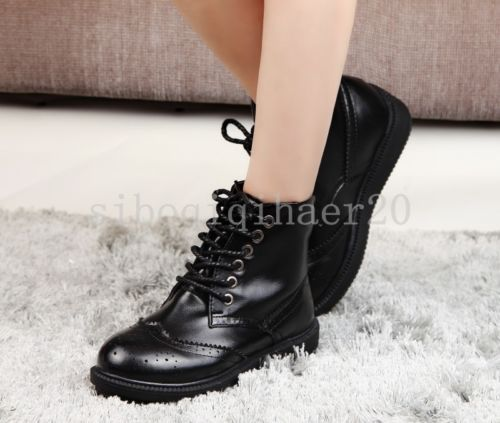 New-Fashion-Womens-Casual-Faux-Leather-Lace-Up-Low-Shoes-Ankle-Riding-Boots-Size