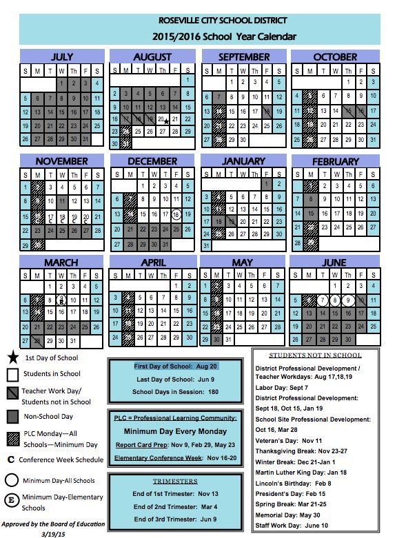 2015 2016 School Calendar For Roseville City School District