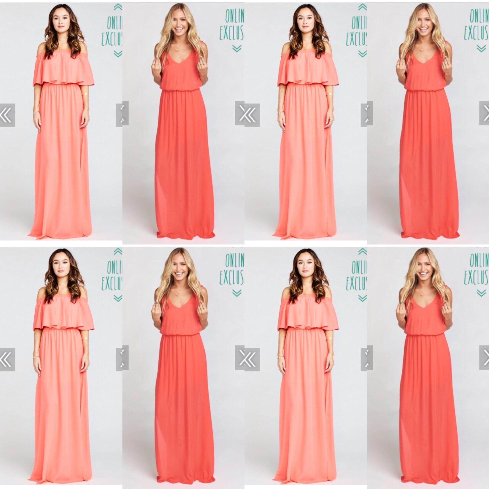 Bridesmaid dress - Show me your mumu Bright Coral Crisp and Hibiscus ...
