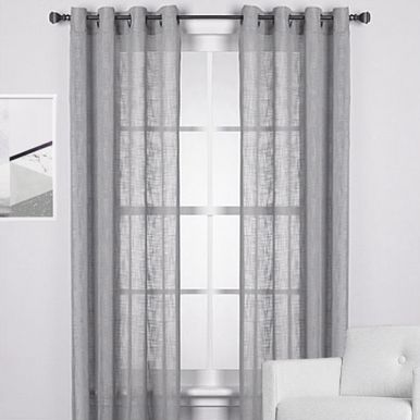 AUD 24.95 per panel -- Homespun Lien Look Sheer Eyelet Curtain Panel Grey | Quick Fit Blinds & Curtains