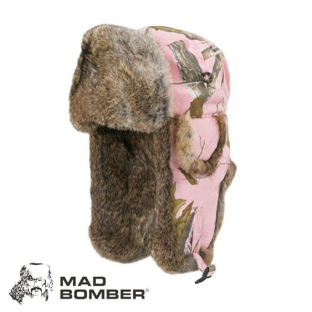 64821ef1c422e Mad Bomber Realtree Pink Trapper Faux Fur Canvas Hat Cap VEGAN No Itchy  Rabbit Hair