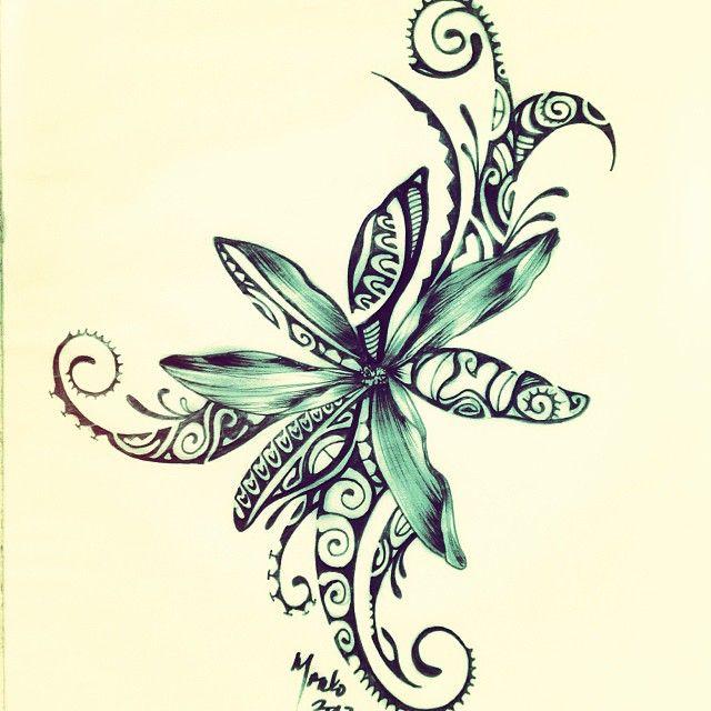 Polynesian Design Of A Tiare Flower Tattoo Pinte