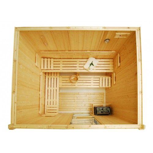 Cabina De Sauna Finlandesa De Madera 3 Bancos Para 4 7 Personas - Cabina-sauna