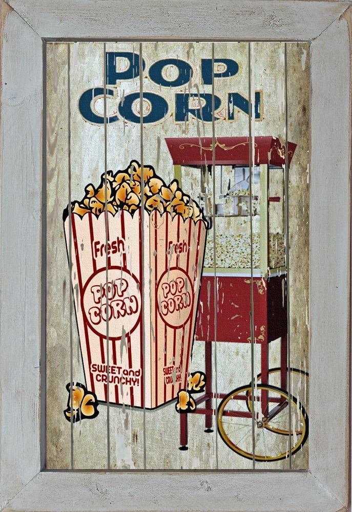 Home Theater Movie Cinema Snack Bar Decor Rec Room Wall Art Sign RusticPrimitive
