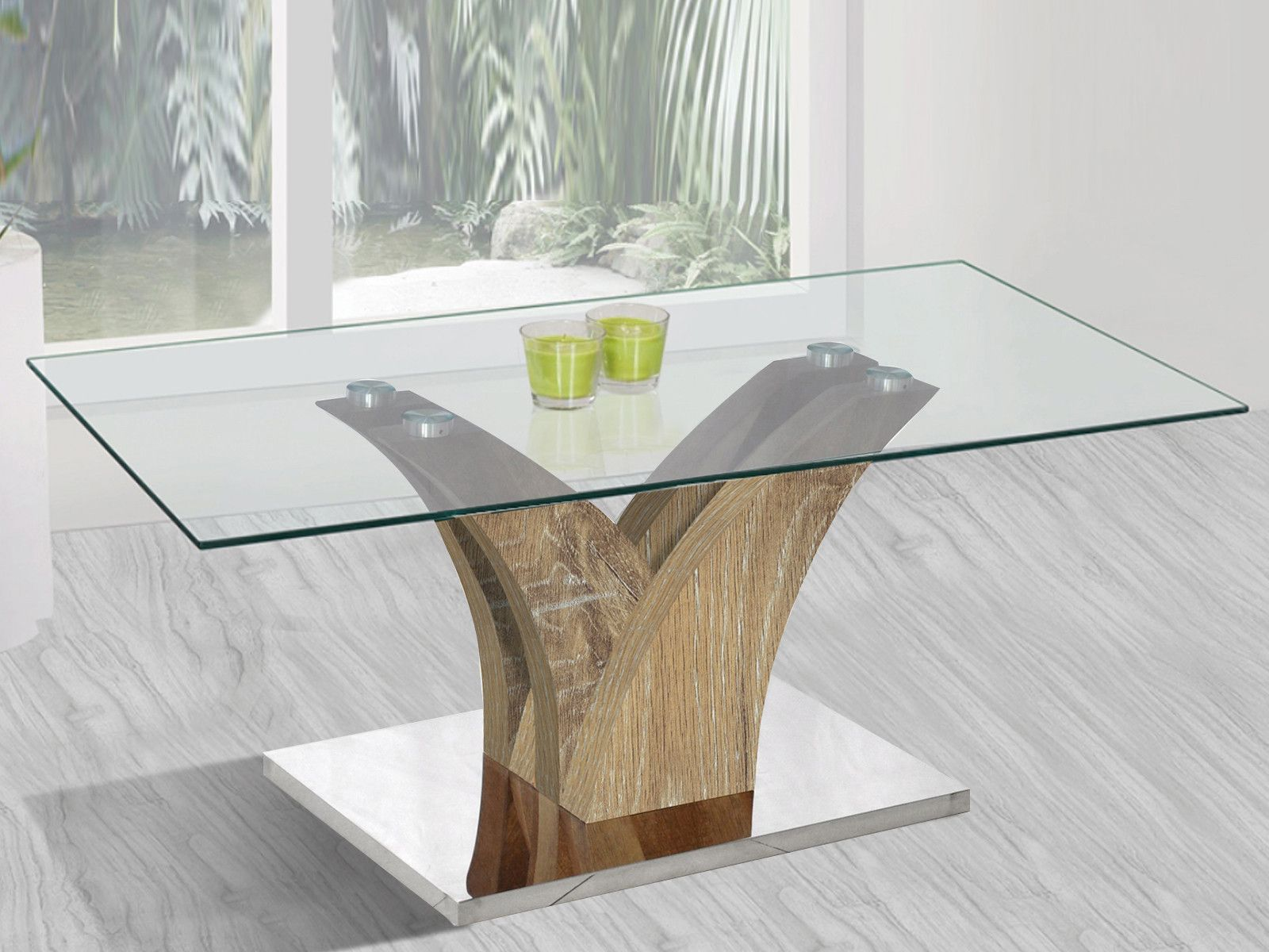 La Table Basse Verre Et Chene Vieilli Moderne Celia Represente La Delicatesse Le Raffinement Mr Mr Table Basse Rectangulaire Table Basse Table Basse Verre