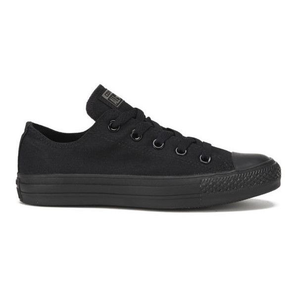Converse Unisex Chuck Taylor All Star OX Canvas Trainers - Black... (€51) ❤ liked on Polyvore featuring shoes, sneakers, converse, trainers, black, black trainers, black low top sneakers, black high tops, black low heel shoes and black sneakers