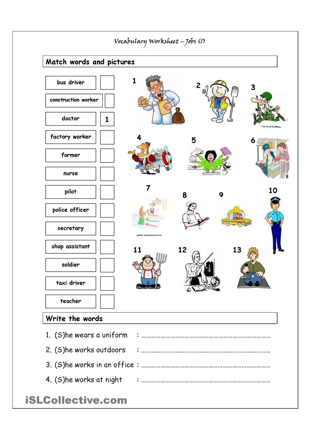 Worksheets Vocabulary Worksheet vocabulary matching worksheet jobs 1 english worksheets good for the younger esl teens