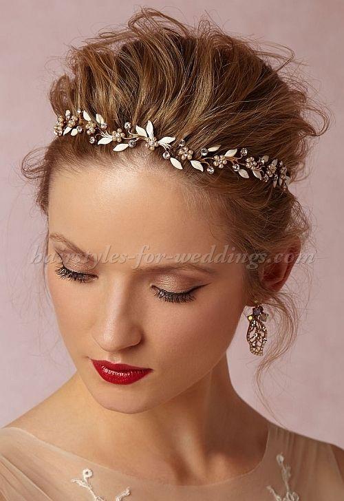 bridal headbands, wedding forehead band - pearl halo for ...