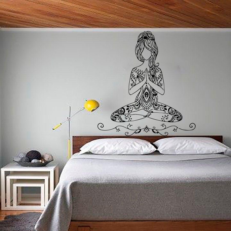 Wall Decals Yoga Lotus Pose Vinyl Sticker Bohemian Decal Words Gym - Zen wall decalsvinyl wall decal yin yang yoga zen meditation bedroom decor