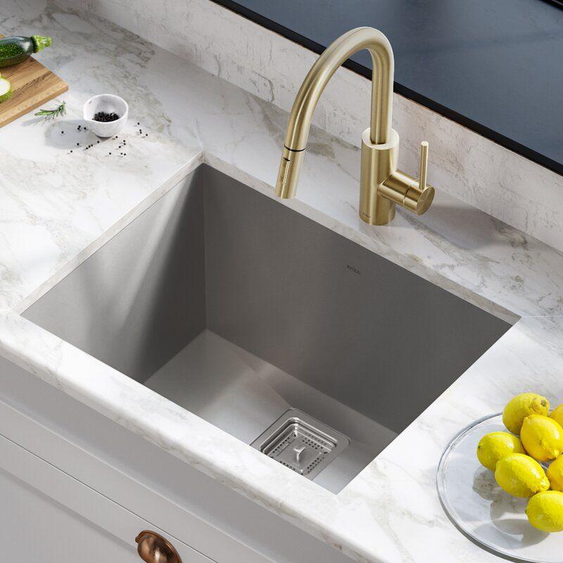 Pax Zero Radius 24 L X 19 W Undermount Single Bowl Stainless Steel Kitchen Sink In 2020 Laundry Room Sink Utility Sink Farmhouse Sink Kitchen
