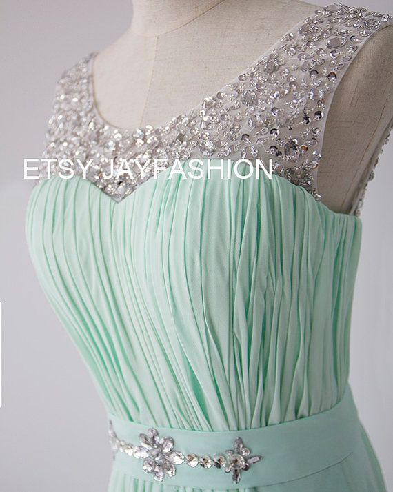 4effae8e0006 Mint Green Chiffon Simple Bridesmaid prom Dress V Back Sheer Beading  Neckline A-line long Prom Dresses with Lace-up - Bridesmaid Dresses