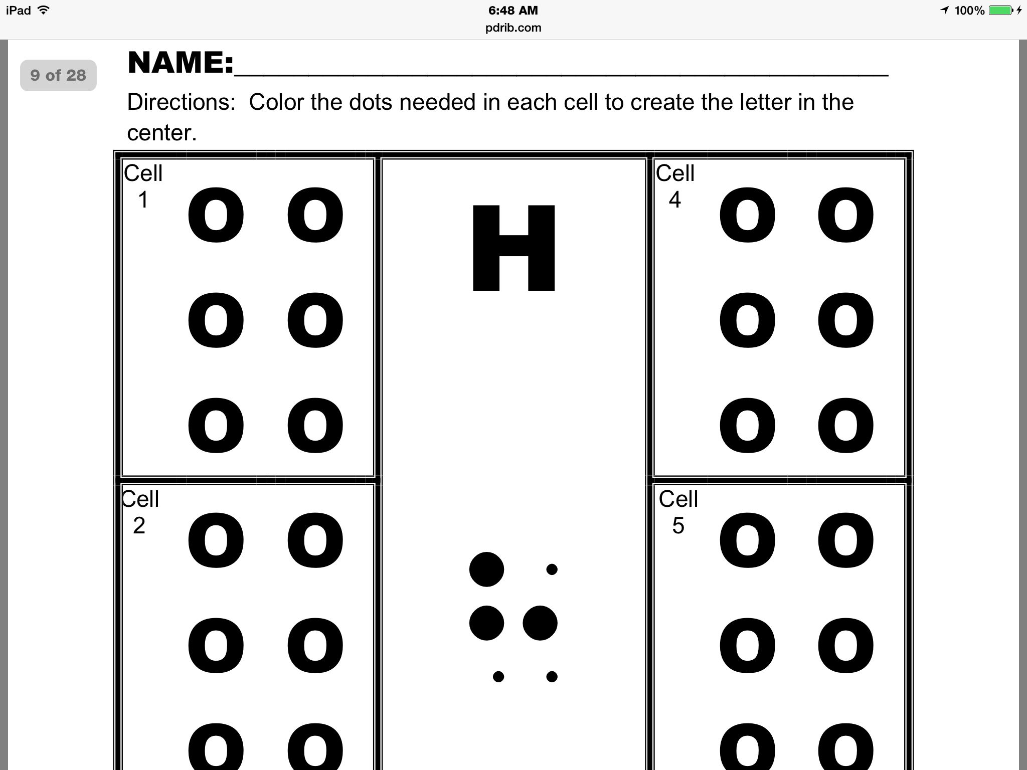 Free Braille Activity Sheets Created By Merry Noel