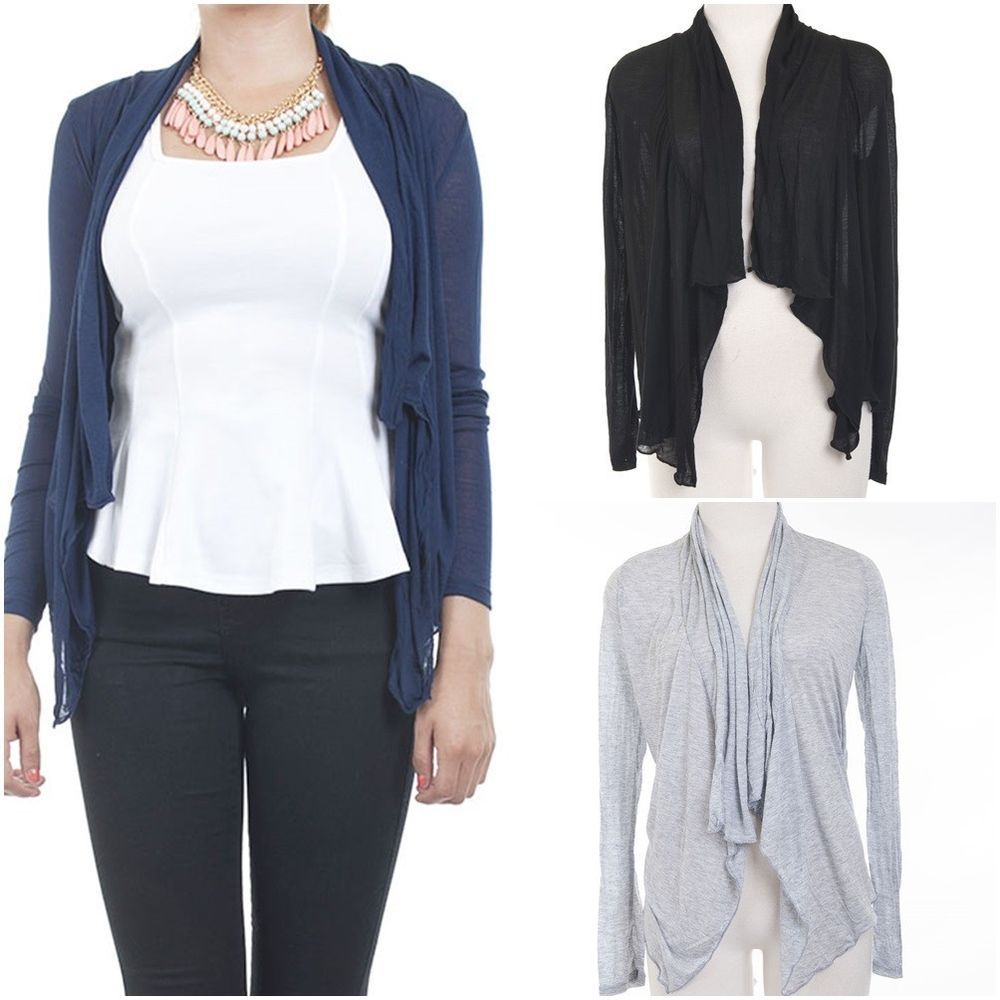 Details about ebclo- Draped Flyaway Basic Open Front Cardigan in ...