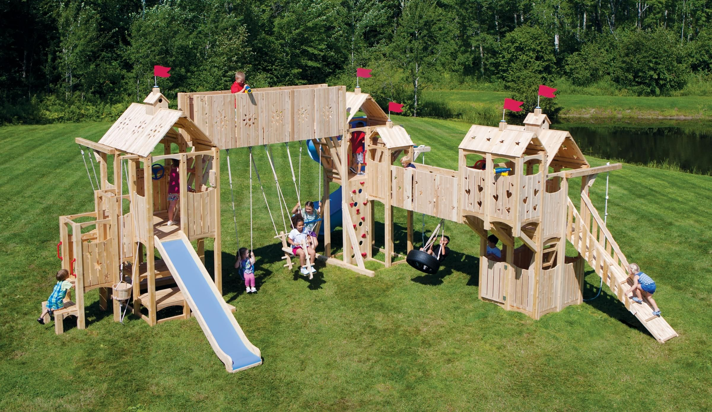 Frolic 546 Wooden Swing Set And Outdoor Playset Cedarworks Playsets Kids Play Set Playset Outdoor Outdoor Fun For Kids
