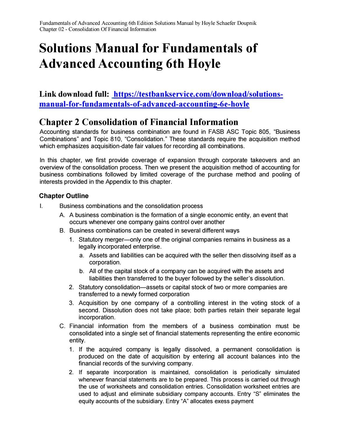 Fundamentals of Advanced Accounting 6th Solutions Hoyle