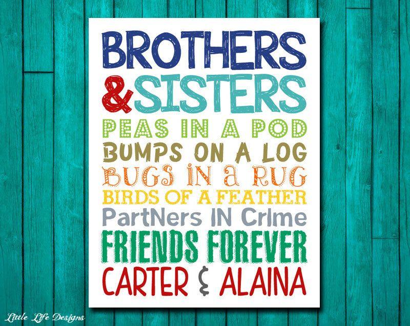 Brothers Sisters Sibling Wall Art Kids Room Decor Bro